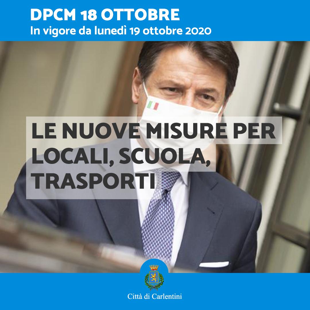 Il DPCM del 18 ottobre 2020