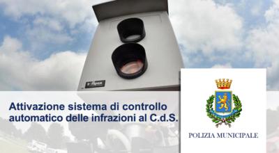 Servizio di Polizia Stradale – Attivazione sistema di controllo automatico delle infrazioni al S.d.S.