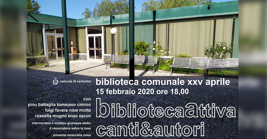"""""""BibliotecaAttiva canti&autori"""": 15 febbraio 2020"""