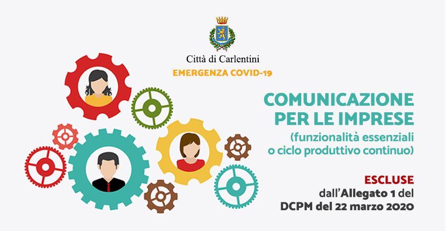 Attività funzionalità essenziali escluse dal DPCM 22 marzo 2020: Comunicazione
