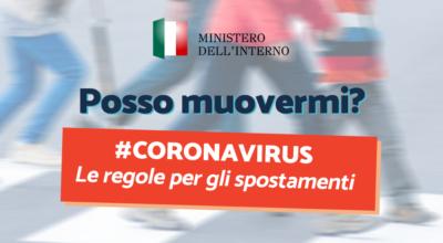 CORONAVIRUS: Le regole per gli spostamenti