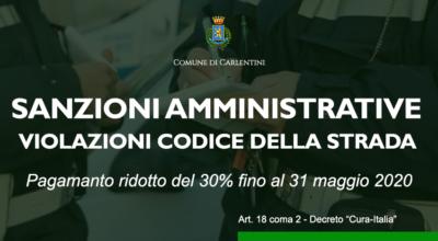 DECRETO CURA-ITALIA: riduzione del 30% sanzioni amministrative violazioni Codice della strada