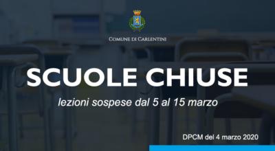CORONAVIRUS: scuole chiuse dal 5 al 15 marzo 2020