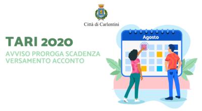 Avviso TARI 2020: proroga scadenze versamento acconto 2020