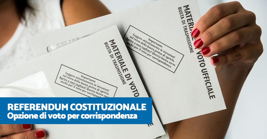 Referendum Costituzionale: Opzione di voto per corrispondenza