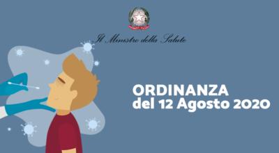 Ministero della Salute: Ordinanza del 12 Agosto 2020