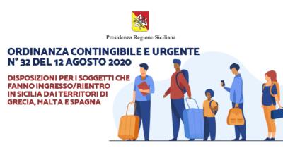 Presidenza della Regione: Ordinanza contingibile e urgente n° 32 del 12 agosto 2020