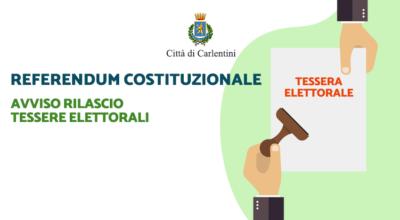 Referendum Costituzionale: avviso rilascio tessere elettorali