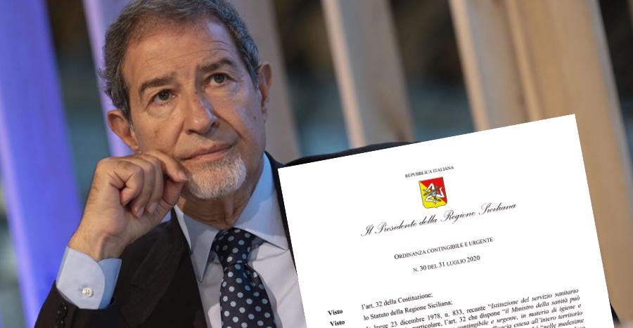 Presidenza della Regione: Ordinanza contingibile e urgente n° 30 del 31 luglio 2020
