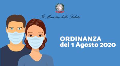 Ministero della Salute: Ordinanza dell'1 Agosto 2020
