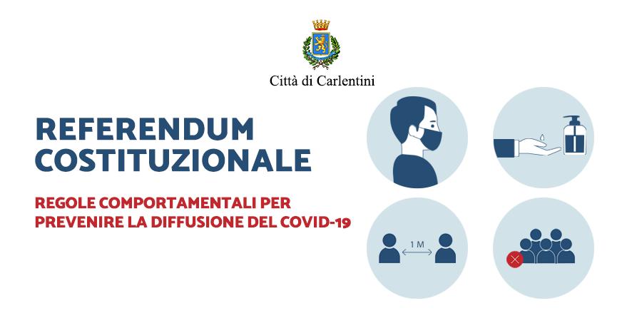 Referendum Costituzionale del 20 e 21 settembre 2020: regole comportamentali per prevenire la diffusione del COVID-19