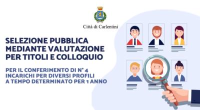 Selezione pubblica mediante valutazione per titoli e colloquio per il conferimento di numero quattro incarichi per diversi profili a tempo determinato