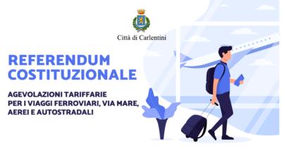 Referendum Costituzionale: agevolazioni viaggi rientro per il voto