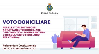 Referendum Costituzionale del 20 e 21 settembre 2020: voto domiciliare per elettori sottoposti a trattamento domiciliare o quarantena/isolamento fiduciario per COVID-19