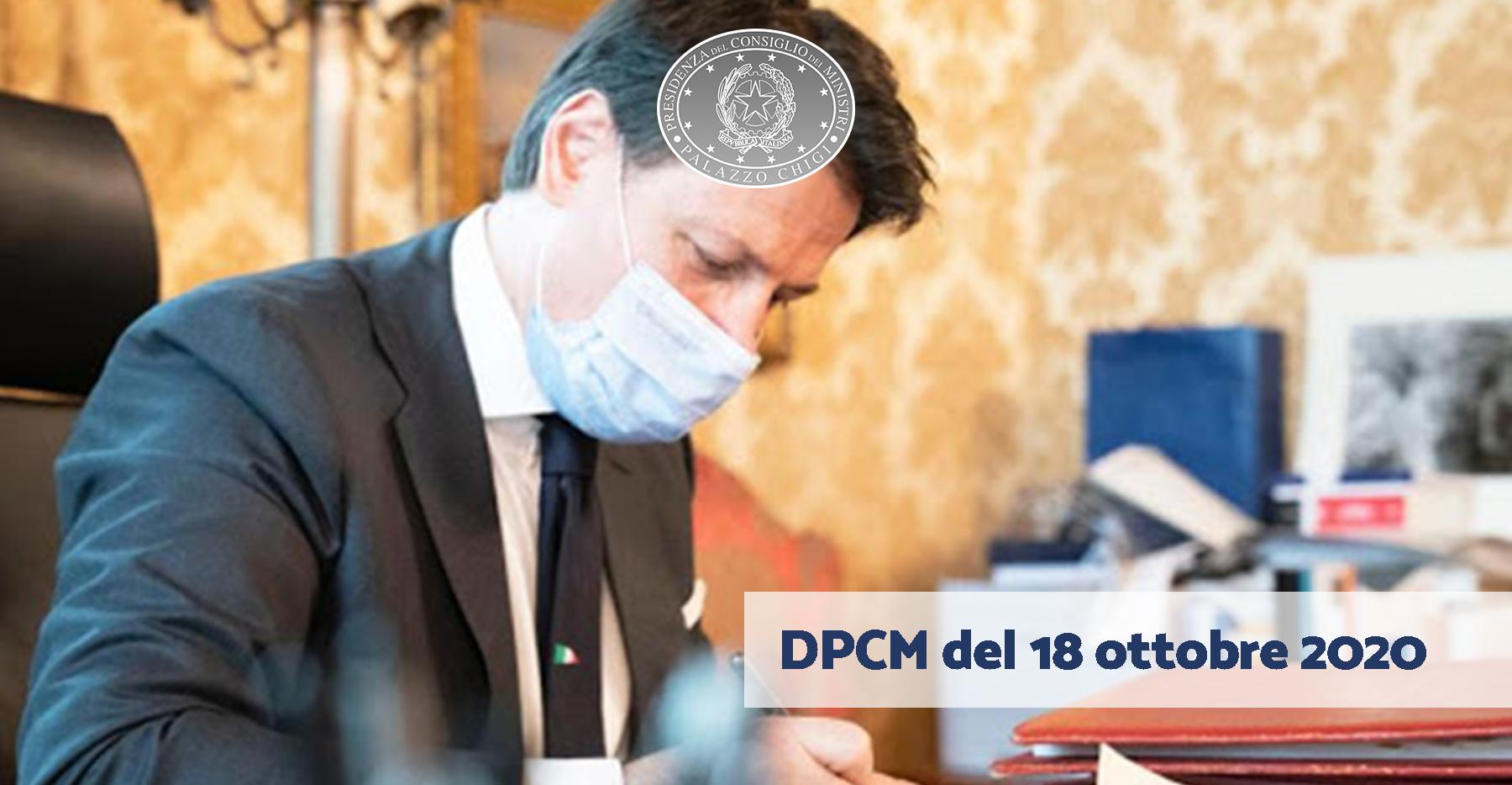 DPCM del 18 ottobre 2020: Misure urgenti di contenimento del contagio sull'intero territorio nazionale