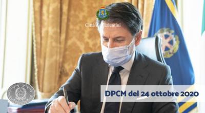 DPCM del 24 ottobre 2020: Misure urgenti di contenimento del contagio sull'intero territorio nazionale