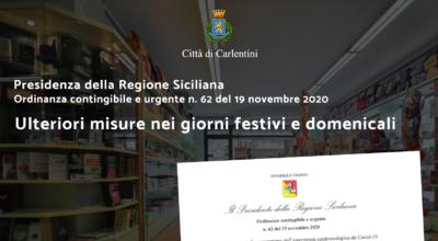 Presidenza della Regione: Ordinanza contingibile e urgente n° 62 del 19 novembre 2020