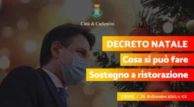 Decreto Natale: le misure restrittive e i contributi alle attività di ristorazione (D.L. n. 172, 18 dicembre 2020)