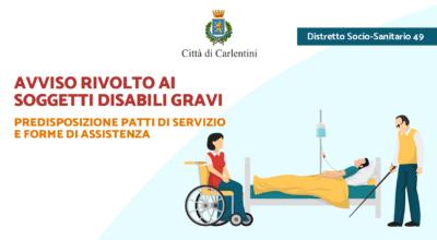 Soggetti disabili gravi: avviso predisposizione patti di servizio e forme di assistenza