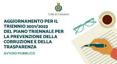 Piano triennale per la prevenzione della corruzione e della trasparenza (PTPCT): Avviso pubblico per l'aggiornamento triennio 2021/2023