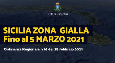 """Sicilia """"Zona Gialla"""" fino al 5 marzo 2021: Ordinanza Regionale n° 16 del 28 febbraio 2021"""