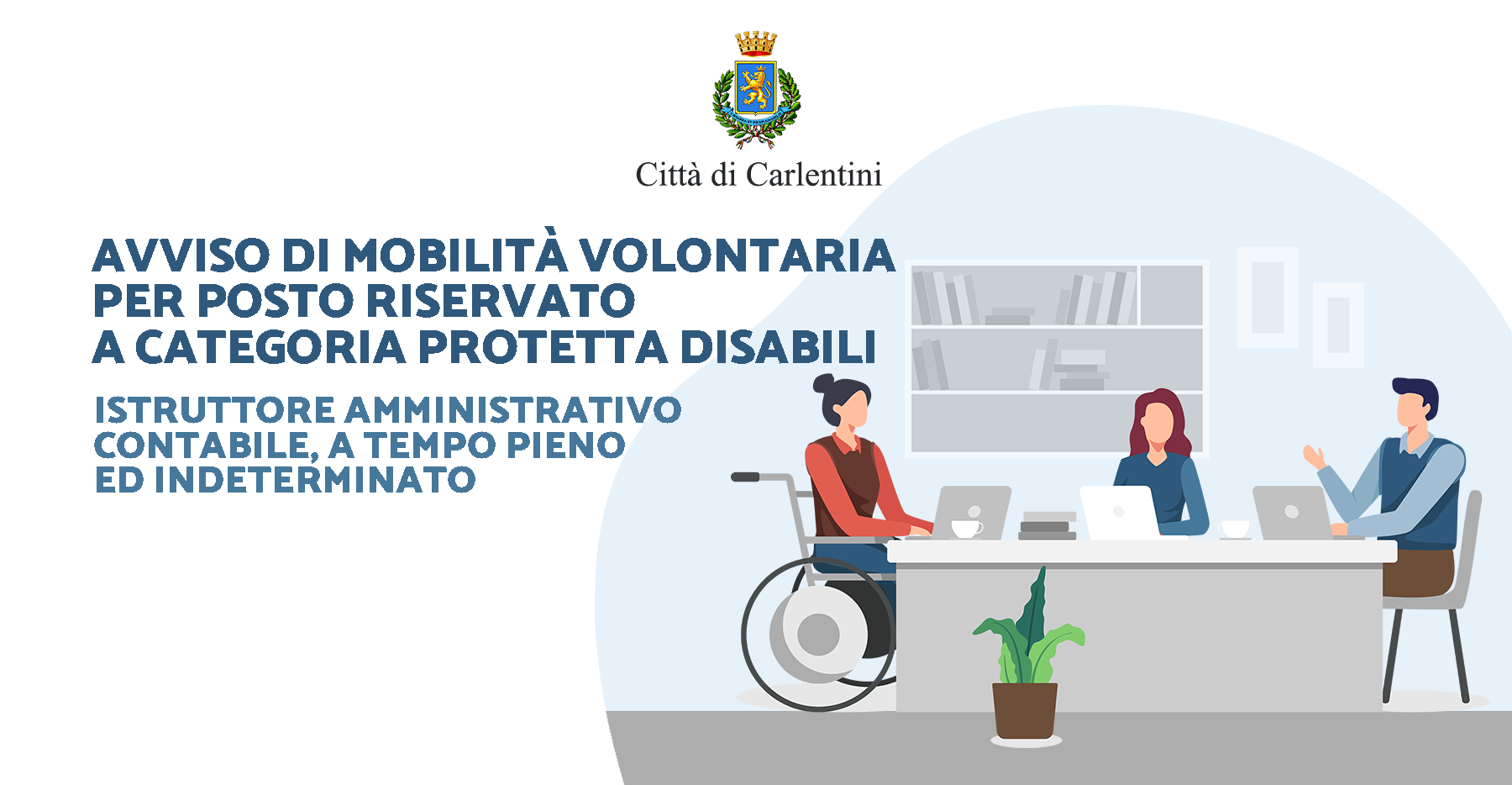 Avviso di mobilità volontaria: n° 1 istruttore contabile a tempo pieno e indeterminato, area servizi finanziari