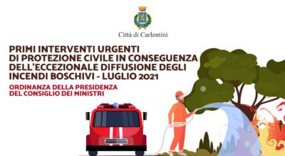 Primi interventi urgenti di Protezione Civile per incendi boschivi, luglio 2021: Ordinanza PCM